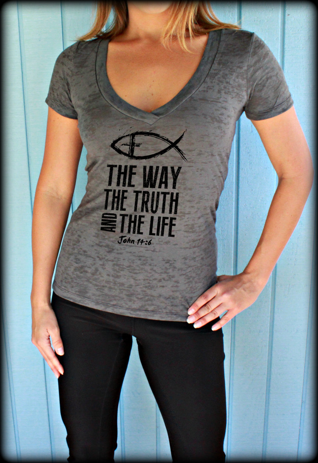 The Way The Truth And The Life. John 14 6. Christian Womens Clothing Workout V Neck T Shirt.