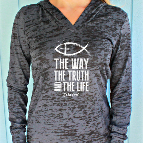 Christian Womens Workout Hoodie. The Way The Truth The Life. John 14 6. Running Burnout Hoodie. Fitness Motivation.