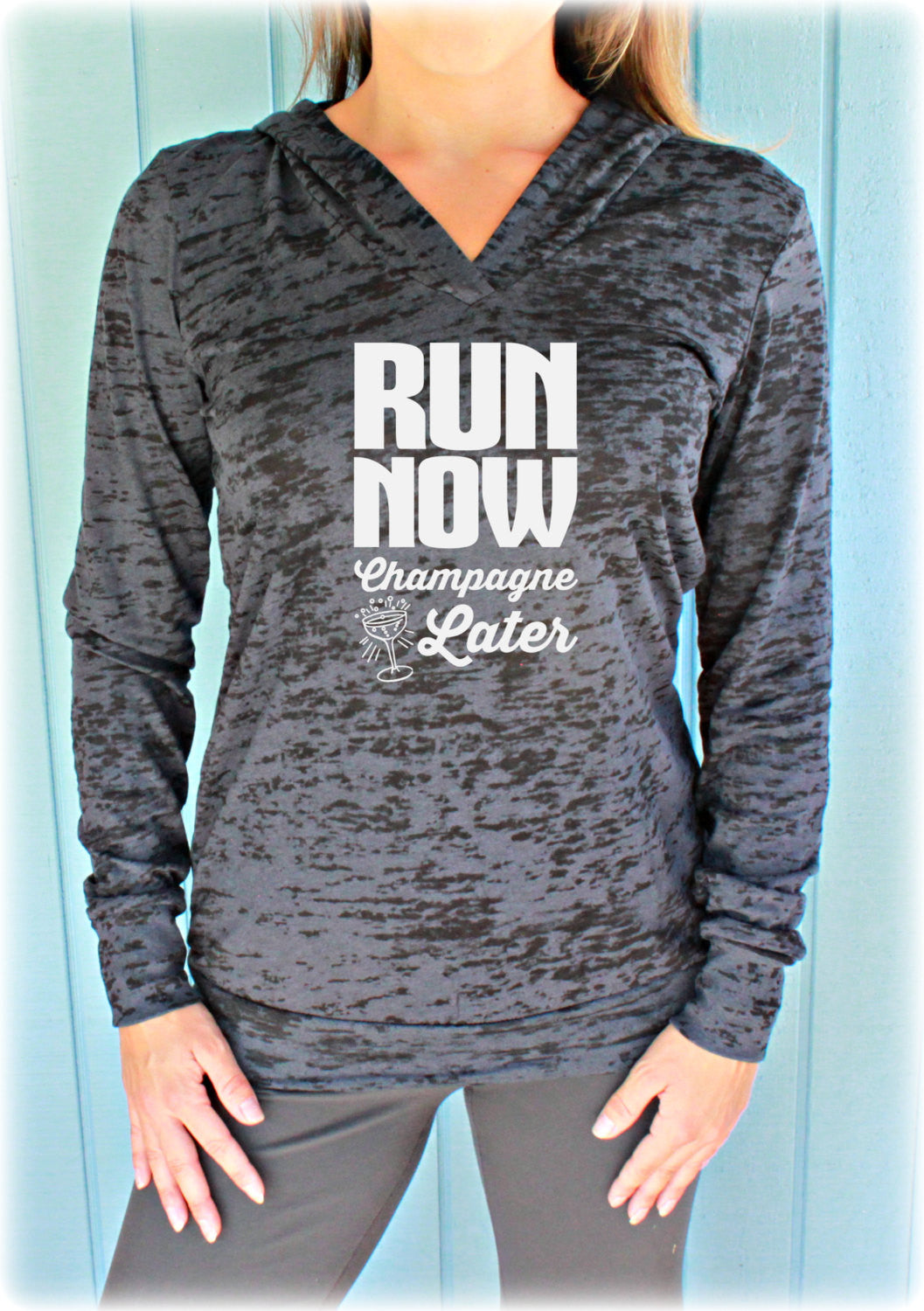 Run Now Champagne Later Womens Pullover Running Workout Hoodie