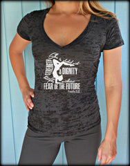 Womens Workout V-Neck T-Shirt. Motivational Workout Apparel. She is Clothed w/ Strength & Dignity. Christian Clothing. Proverbs 31 25.