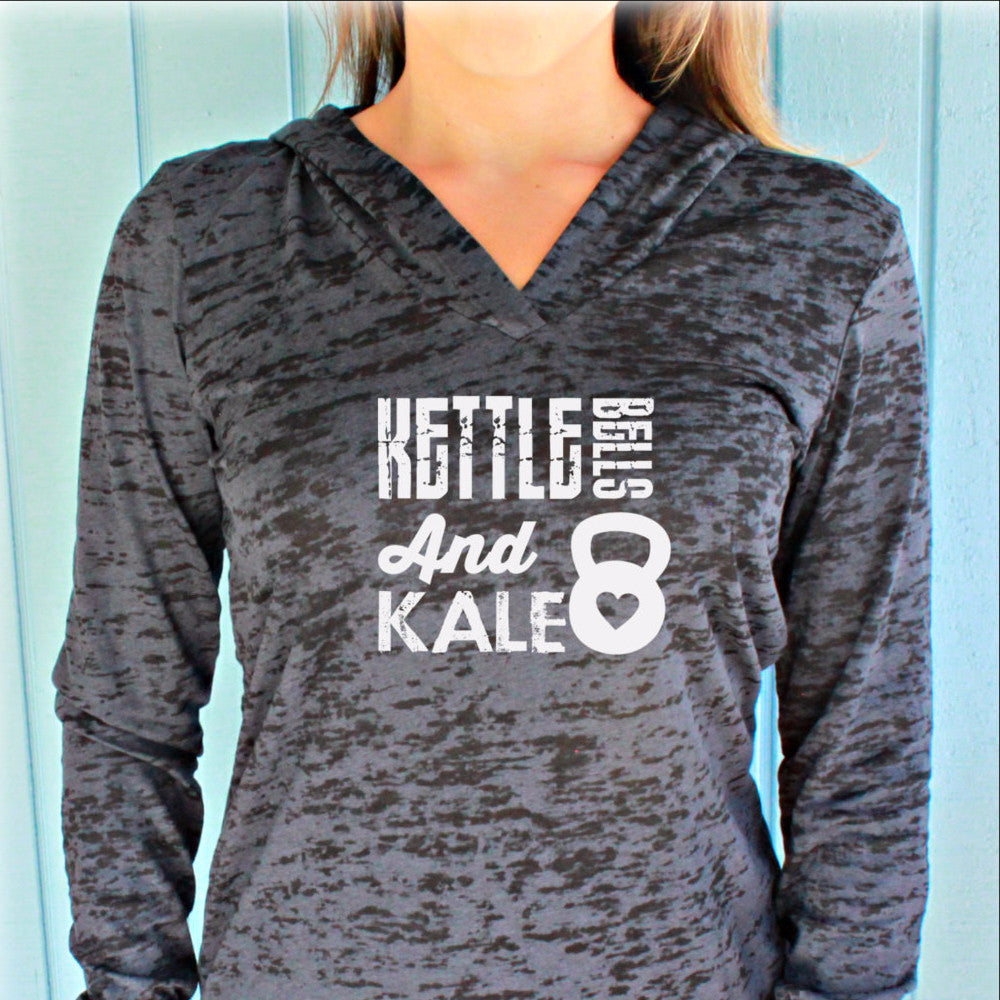 Kettlebells and Kale Womens Pullover Fitness Burnout Hoody