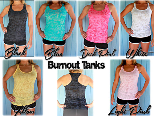 Six Tank Discount. Burnout or Flowy Workout Tank Tops. Motivational Quote Tanks.