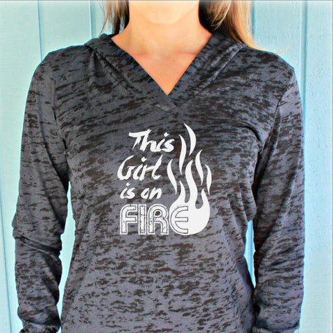Womens Pullover This Girl is on Fire Workout Hoodie. Cross Training Running Hoodie. Burnout Hoody. Fitness Motivation.
