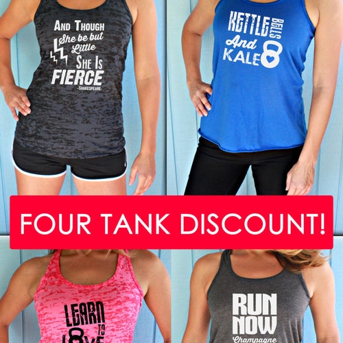 Four Tank Discount. Burnout or Flowy Workout Tank Tops. Women's Athletic Tanks.