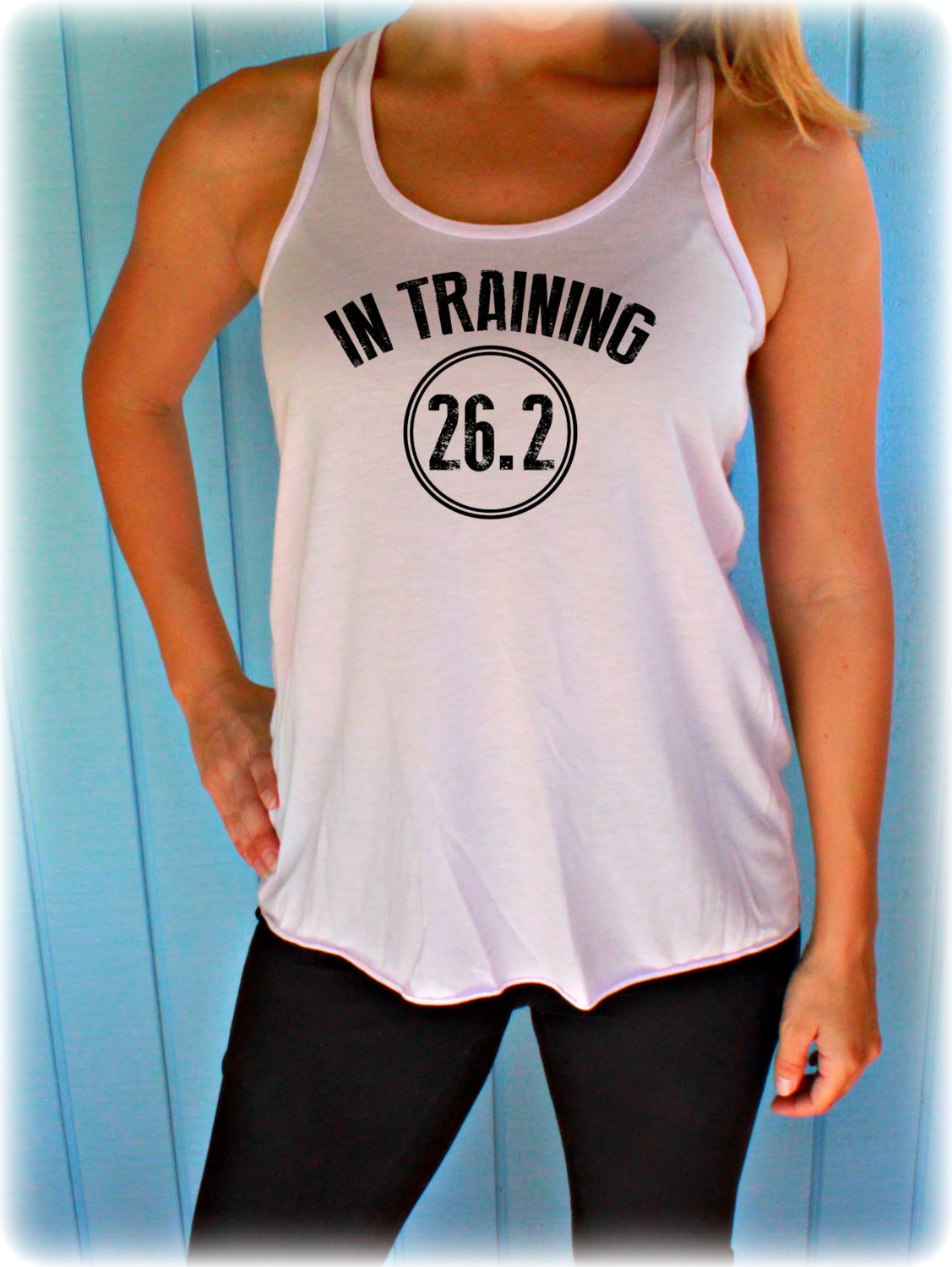 Womens Flowy Marathon Training Workout Tank Top. In Training 26.2. Fitness Motivation. Running Tank Top. Gift for Runner.