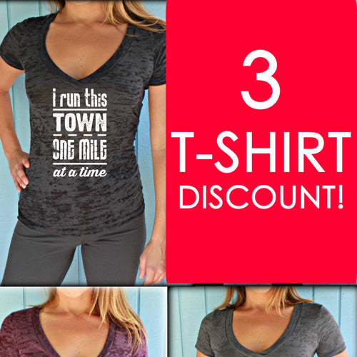 Three T-Shirt Discount. Burnout or Sporty V Neck T-Shirts. Fitness Running Tees. Womens Workout Clothes.
