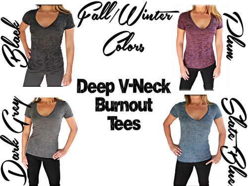 Eight T-Shirt Discount. Burnout or Sporty V Neck T-Shirts. Womens Active Wear.