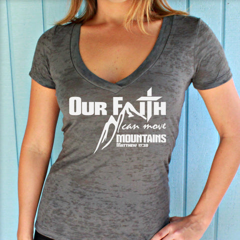 Matthew 17:20. Our Faith Can Move Mountains Bible Verse. Workout V-Neck T-Shirt. Christian Exercise Apparel.