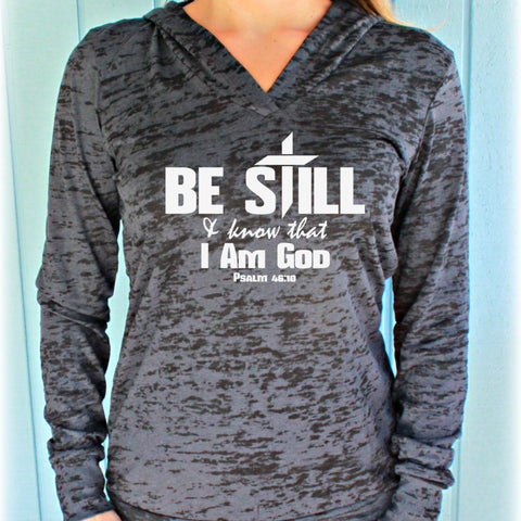 Christian Workout Clothing. Psalm 46:10 Be Still & Know That I Am God Women's Bible Verse Burnout Athletic Tank Top.