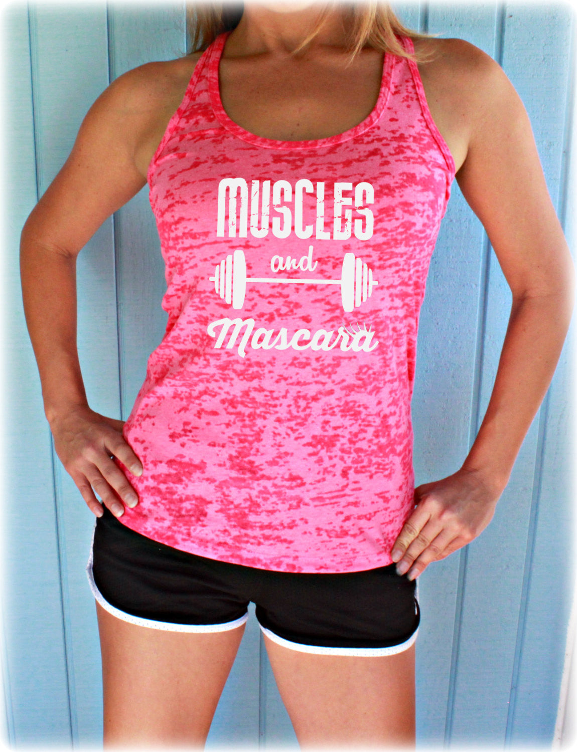 Workout Burnout Tank Top. Muscles and Mascara Fitness Shirt. Womens Inspirational Clothing.