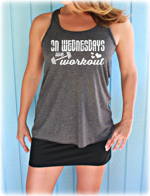 On Wednesdays We Workout Flowy Fitness Tank Top. Womens Inspirational Shirt. Ladies Workout Apparel.