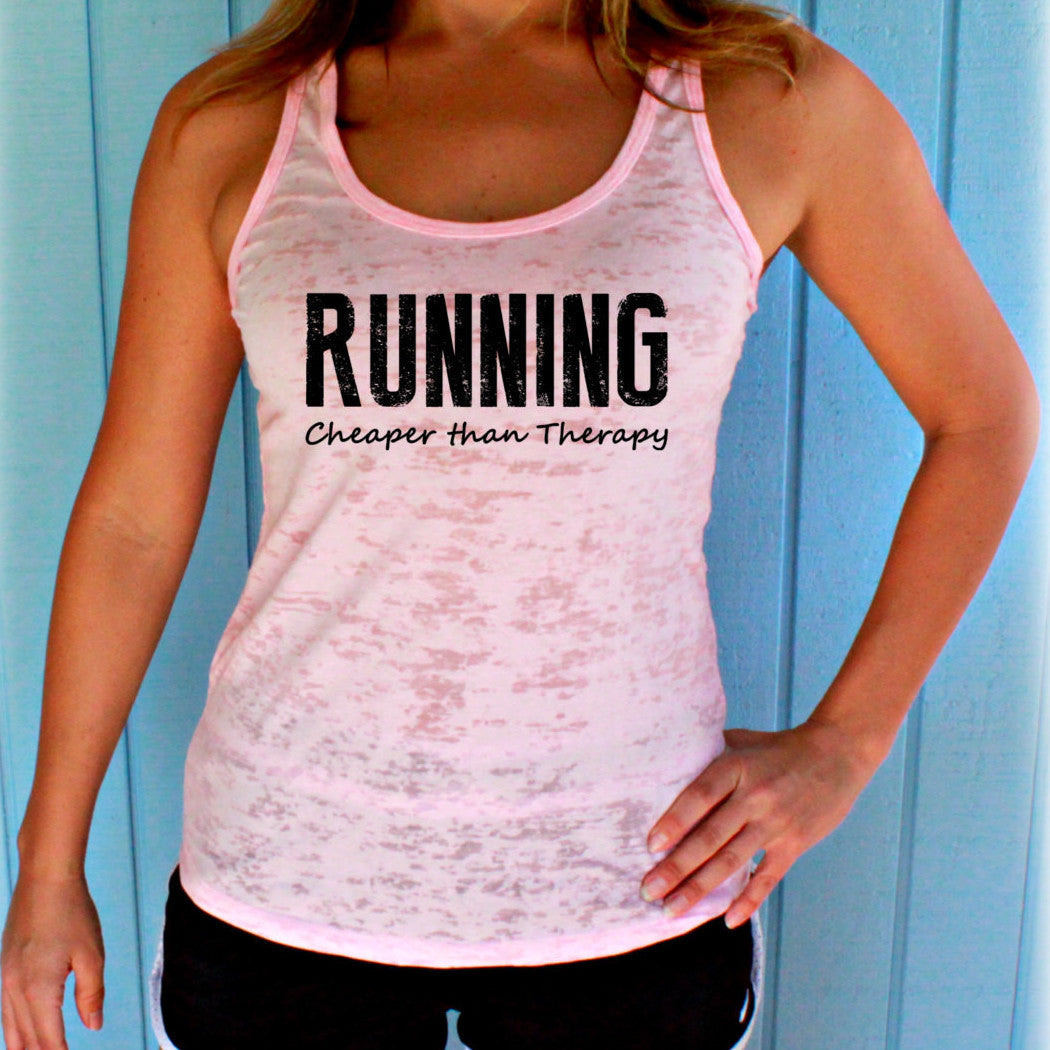 Womens Running Tank Top. Running Cheaper Than Therapy Workout Tank. Burnout Tank Top. Fitness Inspiration.