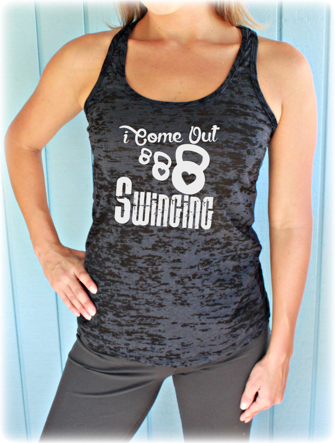e3f5758ebd3d5 Kettlebell Workout Tank Top. I Come Out Swinging. Cute Womens Workout  Clothing. Gym