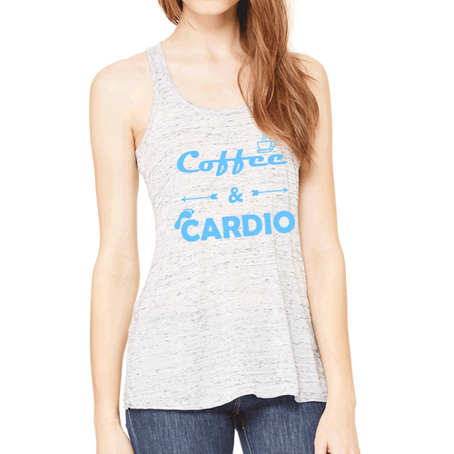 Coffee & Cardio Womens Flowy Workout Tank Top. Fitness Motivation. Running Tank Top. Gift for Runner.