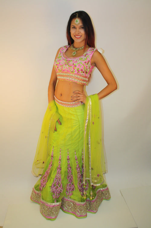 Neon Yellow Lengha w/Pink Contrast Blouse