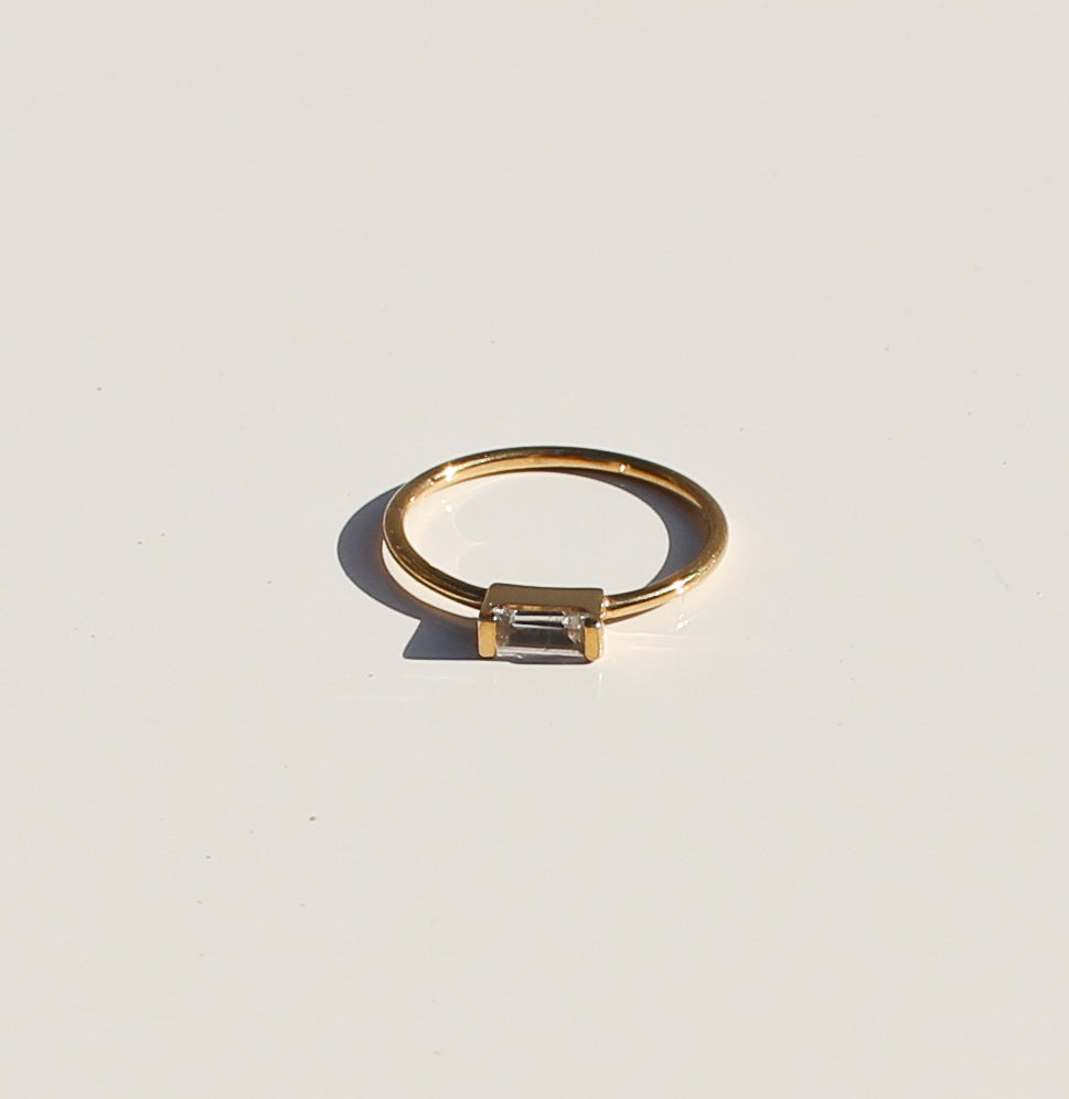 Halo Baguette Ring -Gold Plated *Online Only