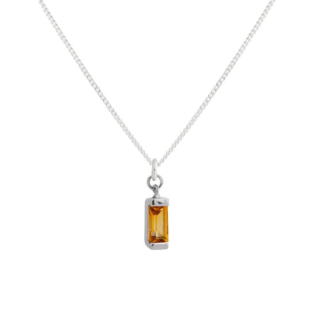 Citrine Necklace Silver