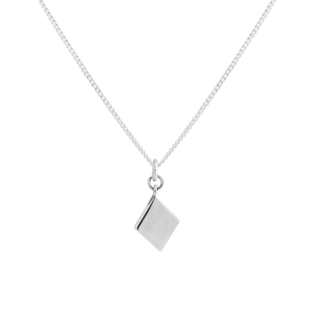 Lindi Kingi Deluxe Diamond Shape Necklace Silver