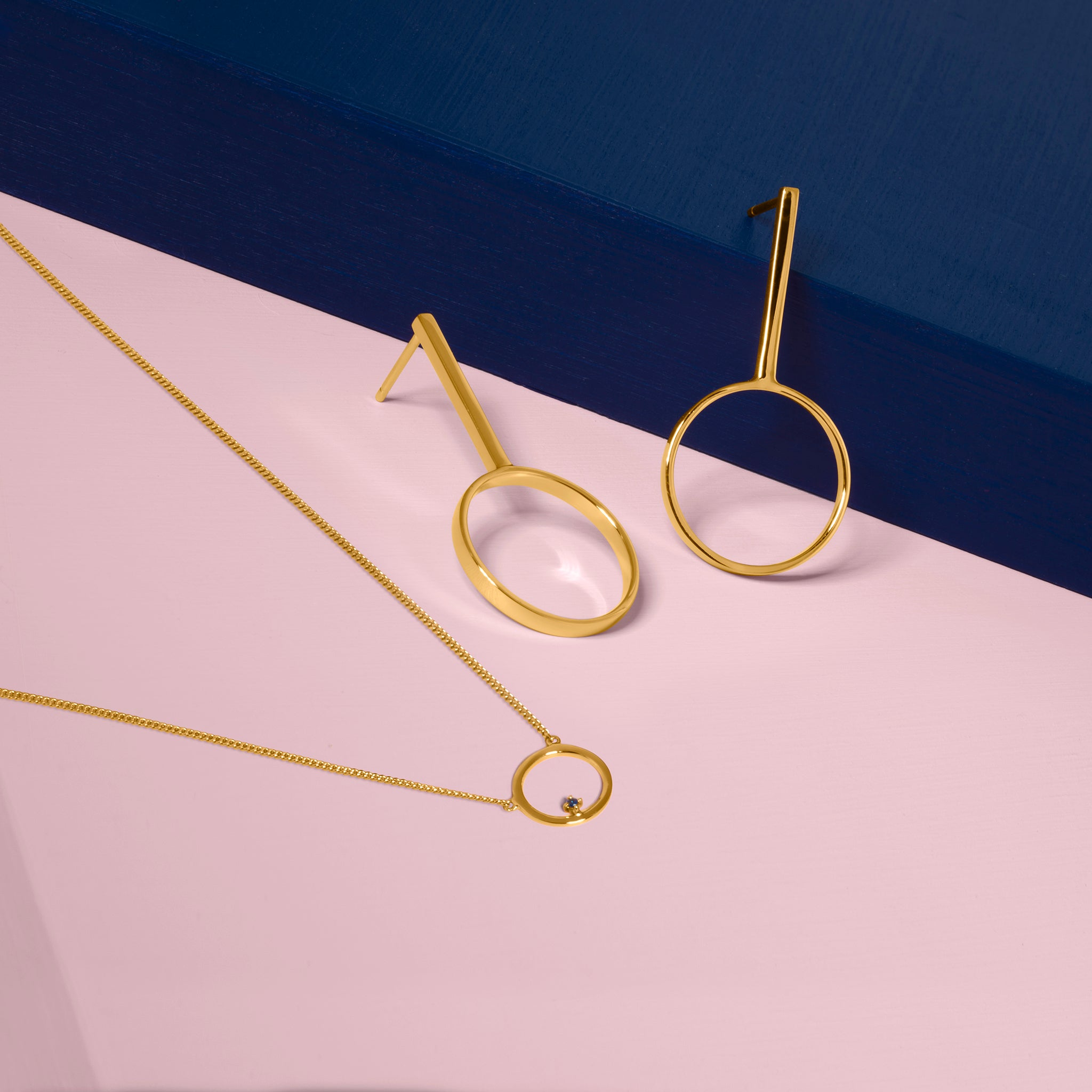 Republic Road Free to Roam Necklace and Clarity Earrings Gold | Styled on Pink and Blue