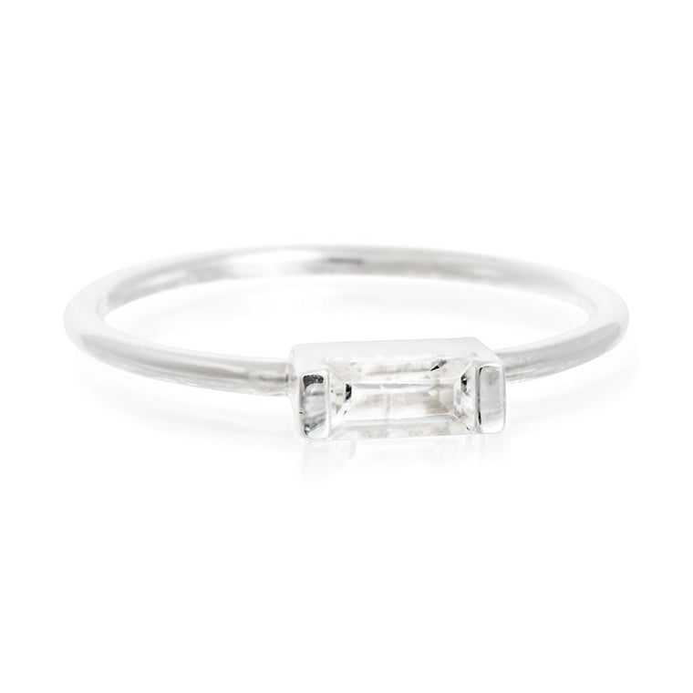 Halo White Topaz Baguette Ring