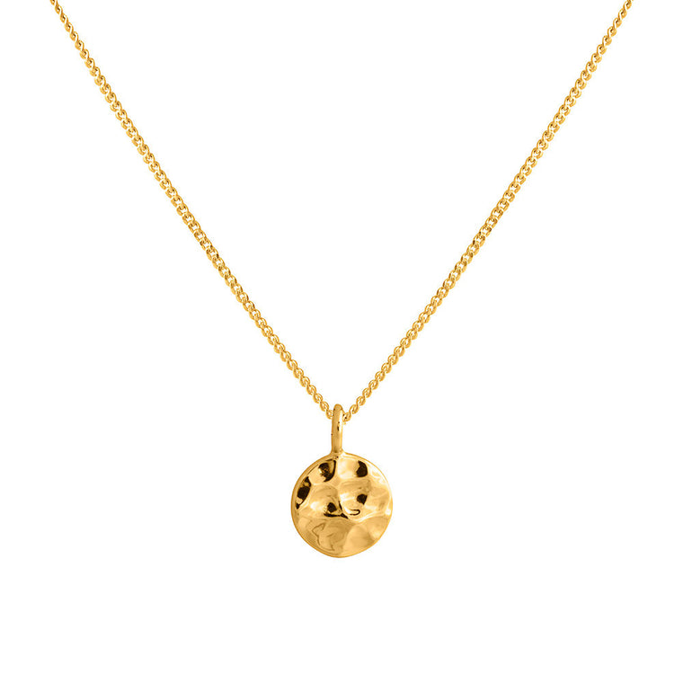 Sleeper Pendant - Hammered Disc Gold Plated