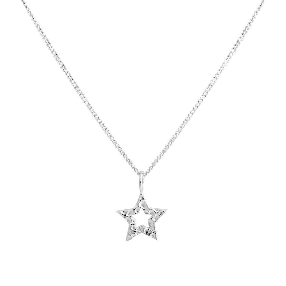 Hammered Star Necklace Silver