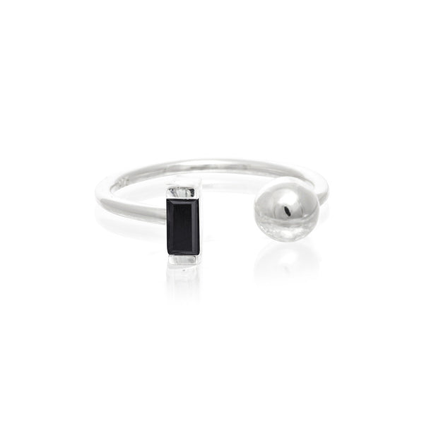 Halo Black Onyx and Ball Ring