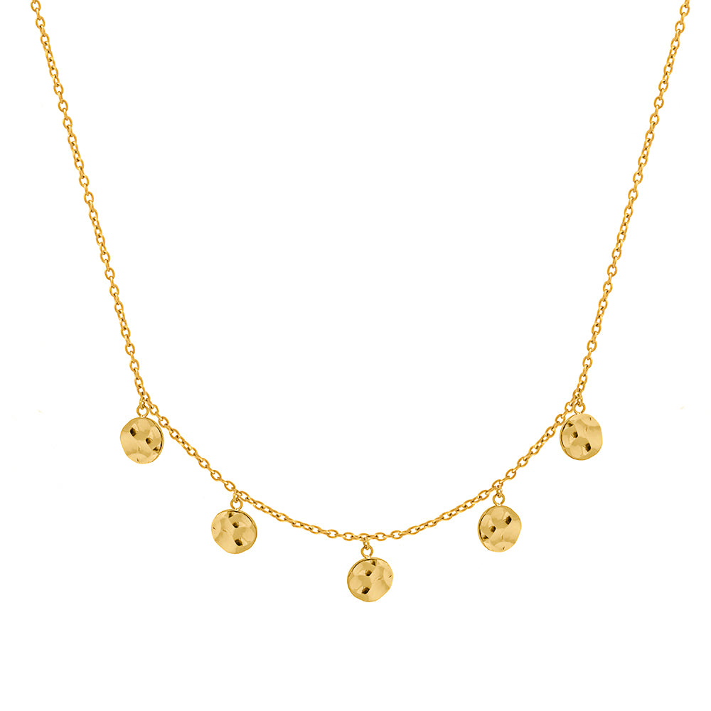 Solaris REMIX 5 Hammered Disc Necklace -Gold