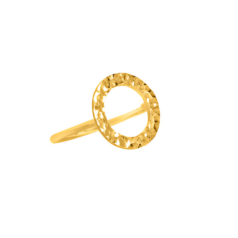 Solaris REMIX Hammered Open Circle Ring - Gold