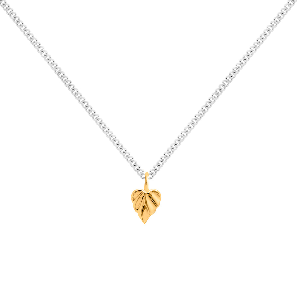 Wild Heart Space Micro Leaf Pendant 9CT