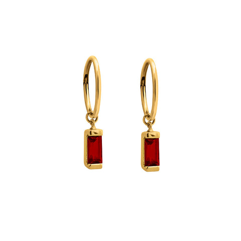 Lindi Kingi Deluxe Baguette Garnet sleepers Gold | Avaialble Now at The Mint Republic