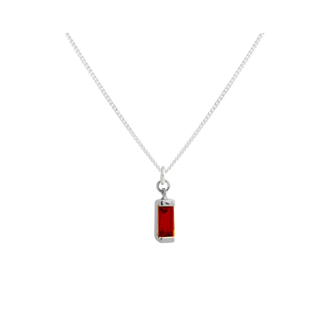 Baguette and Garnet Necklace SILVER