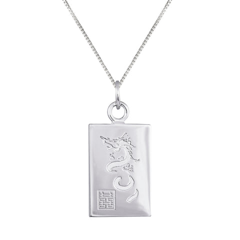 Blessings Dragon Pendant Silver