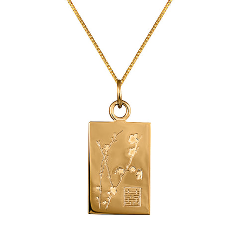 Lindi Kingi Deluxe Cherry Blossom pendant Gold (with chain ) | Available now at The Mint Republic