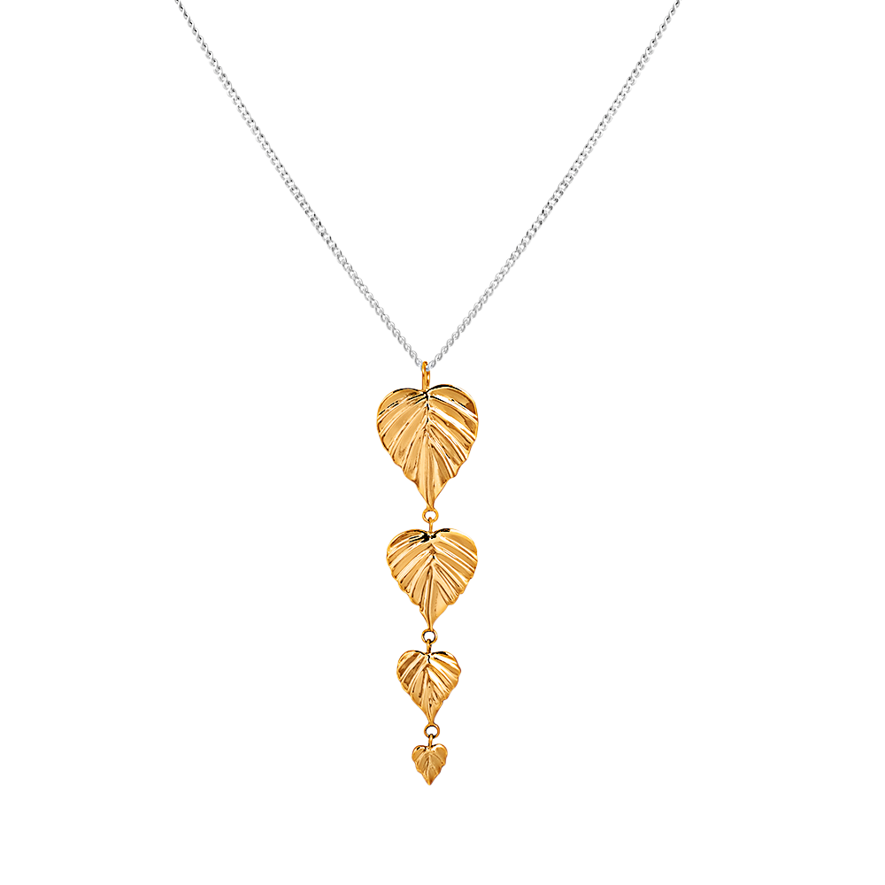 SAMPLE | Wild 4 Drop Pendant 9CT GOLD Leaves