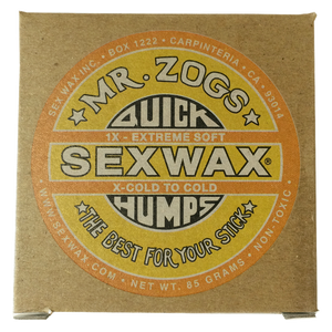 Sex Wax 1x Cold (4 Pack), Surf Accessories, Zogs Sex Wax, Zogs Sex Wax, Its getting chilly, bump it up with Mr Zogs 1X Cold Wax. Illin' and Chillin' in your neighborhood break with some soft wax for better traction. MInimum purchase of 4 for online purchases. (We can mix up the wax if you need basecoat/tropical, 1x, 2x, 3x, 4x, 5x or 6x Zogs or Sticky Bumps otherwise you will receive 4 bars as ordered....Just leave a note at checkout if you want us to change up the wax)