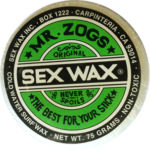 Sex Wax Original Surf Wax - Cold Water Formula, Surf Accessories, Zogs Sex Wax, Zogs Sex Wax, The Original Surfboard Wax. Nothing says classic like the Sex Wax the older guys used in the 70's for that window treatment. A good sticky and smooth topcoat wax that made this original cold water formula so popular then and now. MInimum purchase of 4 for online purchases.
