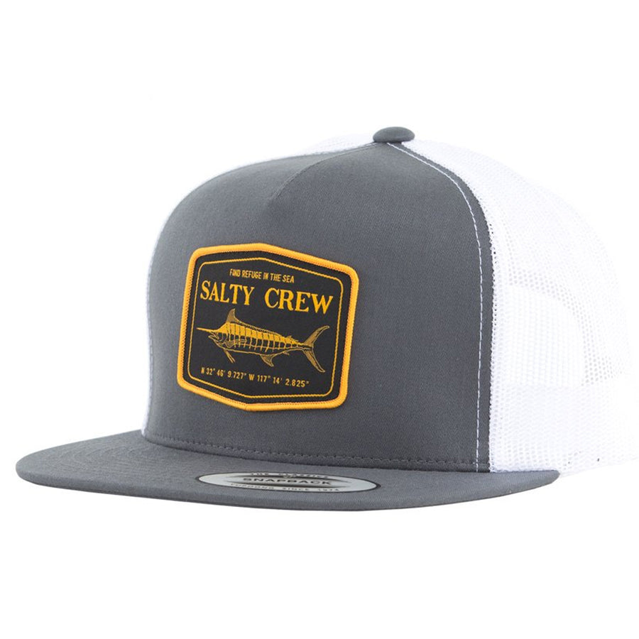 Salty Crew Mens Stealth Trucker Cap - Charcoal/White