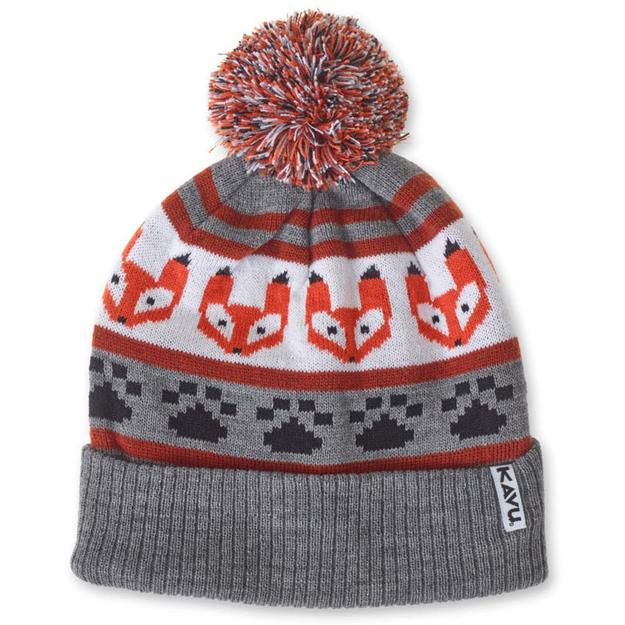 Kavu Herschel Beanie - Foxy, Apparel Accessories, Kavu, Beanies, Vintage inspired beanie with ski-style patterns with pom on top. One Size. Fabric: 100% acrylic.