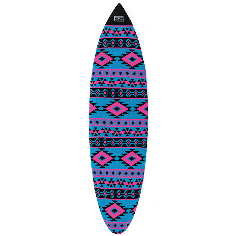 Creatures Shortboard Atzec Sox - Cyan Magenta, Surf Accessories, Creatures of Leisure, Board Socks, Creatures of Leisure, A shortboard aint cheap these days. Avoid scratching or yellowing them with a cozy Creatures of Leisure sox. Padded nose, durable terry fabric, soft and fuzzy besides that. Tail cinch.Holds 1 board.• Padded nose patch• Hard-wearing terry fabric: acrylic / polyester / spandex blend• Drawstring and barrel lock closure