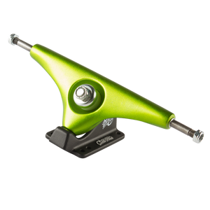 "Sector 9 - Gullwings 9"" Chargers - Lime, Skate, Sector 9, Sector 9, SpecificationsWidth (in): 9.0""Baseplate Angle: 50°Geometry: ReverseConstruction: CastHole Pattern: 6-HoleRake: NoColor: GoldBushing Shape & Duro: Cone/Cone (89a)"