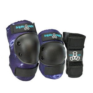 Triple 8 Saver Series Wrist/Knee/Elbow Junior Pad Set - Galaxy Print