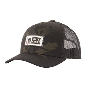 Salty Crew Topstitch Retro Trucker Cap - Multicam Black