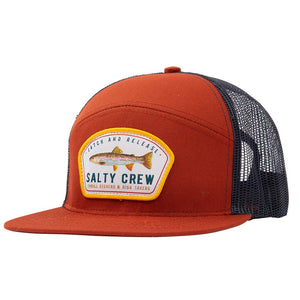 Salty Crew Mens Catch & Release Trucker - Rust Navy