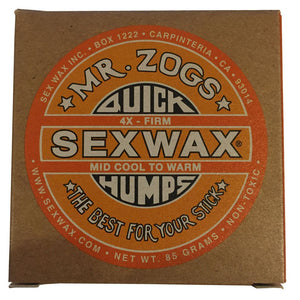 Sex Wax 4x Firm (4 Pack), Surf Accessories, Zogs Sex Wax, Zogs Sex Wax, Sex Wax 4X wax is a firm wax for mid cool to warm temperatures. (We can mix up the wax if you need basecoat/tropical, 1x, 2x, 3x, 4x, 5x or 6x Zogs or Sticky Bumps otherwise you will receive 4 bars as ordered....Just leave a note at checkout if you want us to change up the wax)