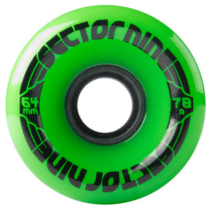 Sector 9 64mm Nineballs Wheels - Green, Skate, Sector 9, 64mm Wheels, Sector 9, 64mm - 78A Nineball wheel set from Sector 9. Great for cruisers.