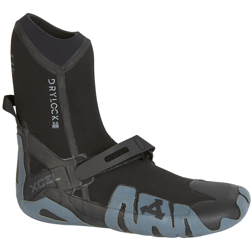 -Wetsuit Accessories-Xcel Drylock 5mm Round Toe Boot - Black/Grey-Xcel Wetsuits-Seaside Surf Shop