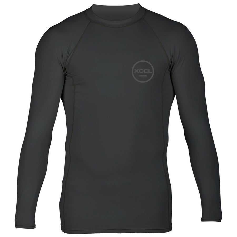 "Xcel Premium Stretch L/S UV Rashguard - Black, Wetsuit Accessories, Xcel Wetsuits, Long Sleeve Rashguards, Mens Rashguards, Premium 6-ounce, 4-way stretch fabric and a comfortable, snug ""second skin"" fit. Tested and UPF rated to block over 98% of UVA/UVB radiation from the sun."