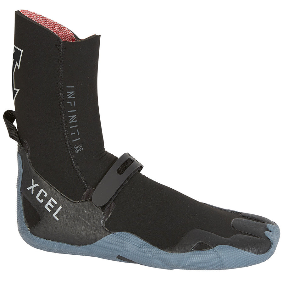 Xcel Infiniti 8mm Round Toe Boot - Black/Grey, Wetsuit Accessories, Xcel Wetsuits, 8mm Boots, Xcel improved upon Infiniti this year. The 5mm and 8mm Infiniti bootie impresses with new features like Thermo Lite super plush lining, and the new molded strap is worth having. Taped seams, ankle loops, and quick dry fibers perform highly, while the surf-specific fit and single-layer rubber sole let you feel your board the way you should.