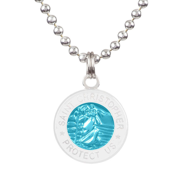 -Jewelry-Saint Christopher Small Medal - Aqua/White-Get Back Supply-Seaside Surf Shop